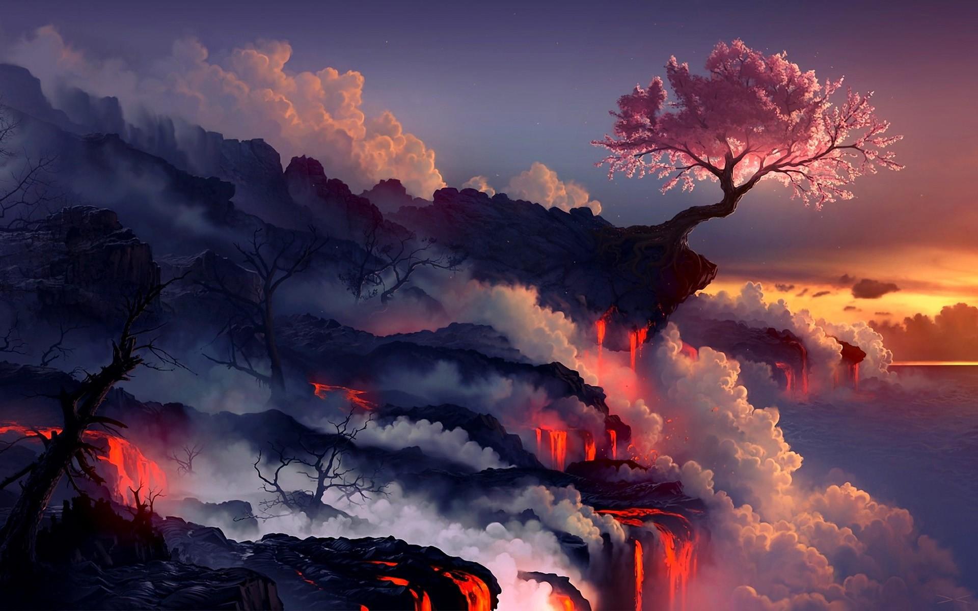 Landscapes-cherry-blossoms-trees-sea-lava-smoke-rocks-artwork-drawings-wallpaper.